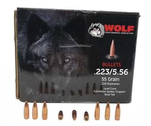 "Wolf Performance Ammunition Bullets - .223 Rem/5.56 MM - .224"" Diameter - 55 Grain Full Metal Jacket WC - 1000 Projectiles"