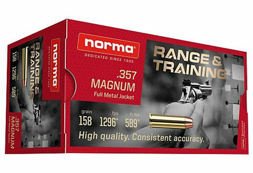 Norma Ammunition- 357 Mag - 158 Grain Full Metal Jacket - 100 Rounds W/ Free Ammo Can