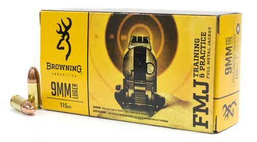Browning Ammunition - 9MM Luger - 115 Grain Full Metal Jacket - 500 Rounds - Brass Case