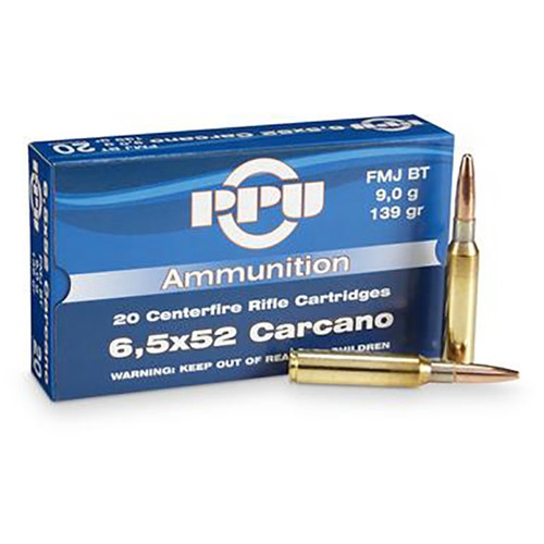 Prvi Partizan Ammunition - 6.5x52 Carcano - 139 Grain Full Metal Jacket - 100 Rounds W/ Free Ammo Can