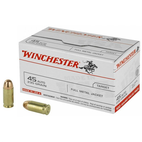 Winchester Ammunition - 45 Auto - 230 Grain Full Metal Jacket - 500 Rounds - Case
