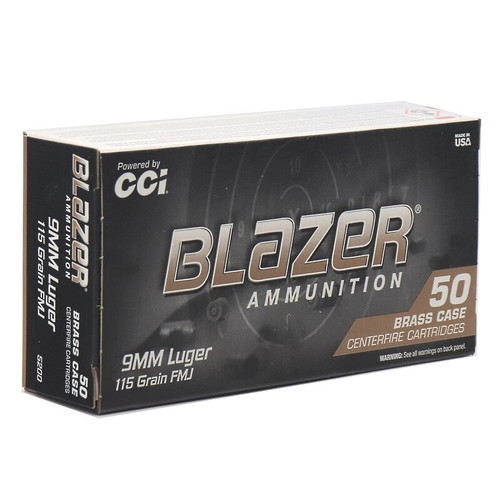 CCI Blazer Ammunition - 9 MM - 115 Grain Full Metal Jacket - 500 Rounds - Case