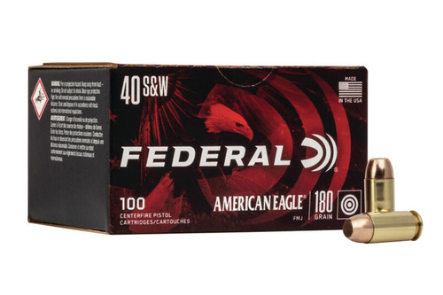 Federal American Eagle Ammunition - 40 S&W - 180 Grain Full Metal Jacket - 500 Rounds - Case