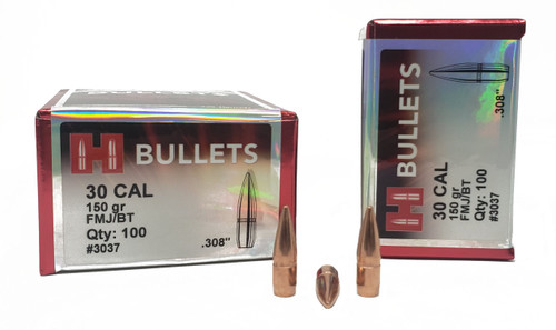 "Hornady Bullets - .308"" (30 Cal)- 150 Grain Full Metal Jacket Boat Tail - 500 Projectiles"