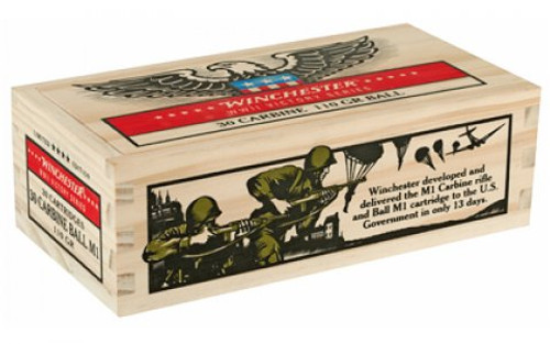 Winchester Ammunition - 30 Carbine - 110 Grain Full Metal Jacket - 100 Rounds in Wooden Box