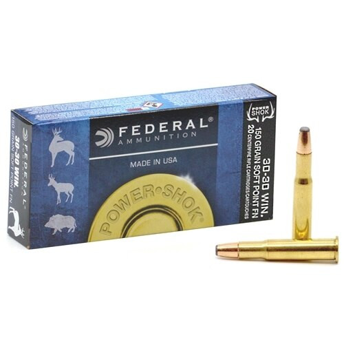 Federal Power-Shok - 30-30 Winchester - 150 Grain - Soft Point - 40 Rounds W/ Free Ammo Can - Brass Case