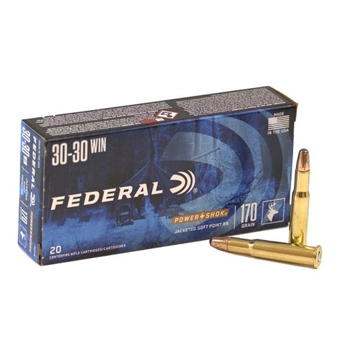 Federal Power-Shok 30-30 Winchester - 170 Grain - Soft Point - 40 Rounds W/ Free Ammo Can - Brass Case