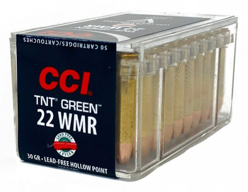 CCI Ammunition - 22 Winchester Magnum - 30 Grain TNT Green - Lead Free Hollow Point - 500 Rounds W/ Free Ammo Can - Brass Case