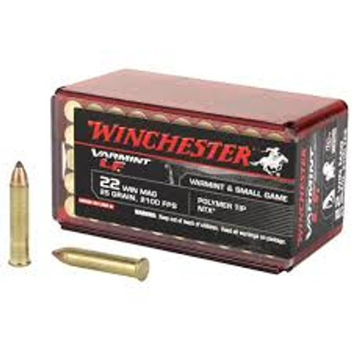 Winchester Varmint-LF Ammunition - 22 Winchester Magnum - 28 Grain Polymer Tip NTX - 500 Rounds W/ Free Ammo Can