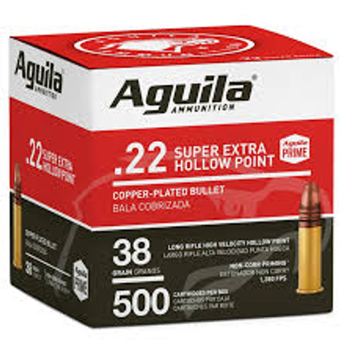 Aguila Ammunition - 22 Long Rifle - 38 Grain Copper Plated Hollow Point - 1000 Rounds - Brass Case