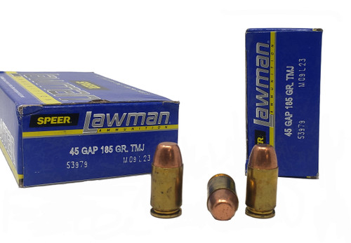 Speer Lawman Ammunition - 45 GAP - 185 Grain Full Metal Jacket - 200 Rounds W/ Free Ammo Can