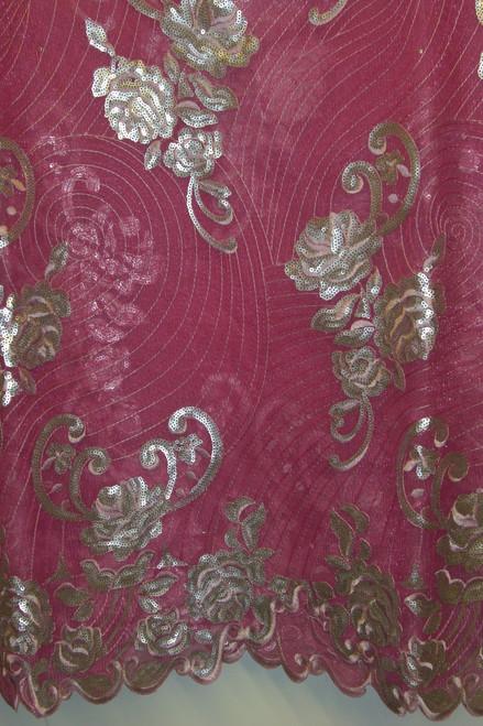 Organza & Net with Sequins - FL47 Pink