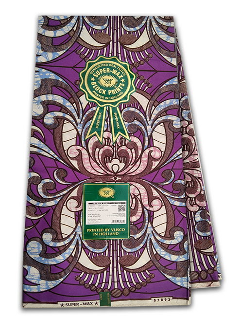 PRODUCT DESCRIPTION: Vlisco Super Wax Premium is made of 100% luxurious cotton fabric and has a super fine feel that distinguishes it from wax block prints. Comprising a two-toned colour combined with a bubbling effect, a third colour might be added to the print however, this is created without the bubbling effect. The Super Wax Premium fabrics are designed using the highest quality digital of printing, which is embedded inside the cotton cloth. It is this unique digital printing designs that give the Vlisco Super-Wax Premium fabric it's distinctive style. Vlisco ensures the vibrant colour combinations of every Super-Wax Premium print exhibits a stunning finish that highlights the beautiful African pride and culture. The Super-wax Embellishment fabric is available in 6 yards (unless stated). To ensure the authenticity of the Vlisco Print, the Vlisco VVH logo and the words SUPER-WAX are repeated twice per yard.   Vlisco Super Wax Premium Fabric Dutch Wax Print Made with soft super fine cotton Produced in Holland since 1846 Eye catching colours Unique patterns Worldwide Shipping PRODUCT SPECIFICATIONS: Limited Edition Exclusive Design Colour: Purple and Blue  Size: 45inches × 6yards Premium Quality 100% Luxurious Cotton