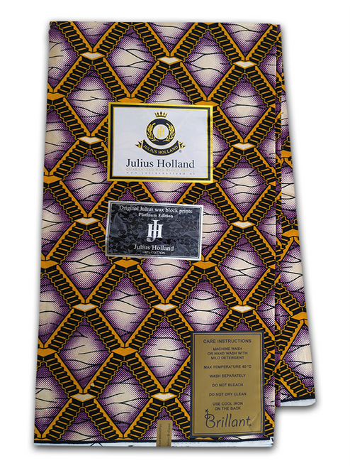 PRODUCT DESCRIPTION: Established in 2002, Julius Holland is a luxury African wax print brand, made for modern women and men from all over the world – focused on those who are curious, sophisticated and fashion-oriented, but also with a strong sense of identity, personal vision and respect for traditions. Julius Holland is made for everyone and every day, it is unique in its own right by using  personal sense and well established experience to create beautiful prints.   Julius Holland is designed for  clients around the world. It is unique in its own right by using our personal sense and well established experience to create beautiful prints. Julius Holland is made for everyone and every day: we love to see women and men dress themselves in our beautiful fabrics and mixing various designs in endlessly new and highly individual creations.  Julius Holland Fabric Dutch Wax Print Highly Fashionable West African Fabric Print Eye catching colours Unique patterns Worldwide Shipping PRODUCT SPECIFICATIONS: Limited Edition Exclusive Design  Colour: Purple and Gold  Super-Soft Cotton Size: 45inches × 6yards