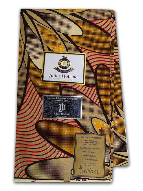 PRODUCT DESCRIPTION: Established in 2002, Julius Holland is a luxury African wax print brand, made for modern women and men from all over the world – focused on those who are curious, sophisticated and fashion-oriented, but also with a strong sense of identity, personal vision and respect for traditions. Julius Holland is made for everyone and every day, it is unique in its own right by using  personal sense and well established experience to create beautiful prints.   Julius Holland is designed for  clients around the world. It is unique in its own right by using our personal sense and well established experience to create beautiful prints. Julius Holland is made for everyone and every day: we love to see women and men dress themselves in our beautiful fabrics and mixing various designs in endlessly new and highly individual creations.  Julius Holland Fabric Dutch Wax Print Highly Fashionable West African Fabric Print Eye catching colours Unique patterns Worldwide Shipping PRODUCT SPECIFICATIONS: Limited Edition Exclusive Design  Colour: Bronze and Red  Super-Soft Cotton Size: 45inches × 6yards