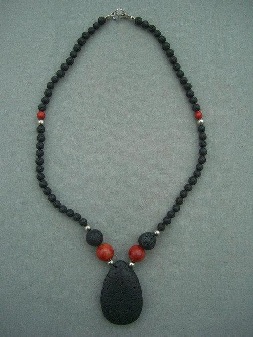 Natural Black Coral Beads with Big Pendant