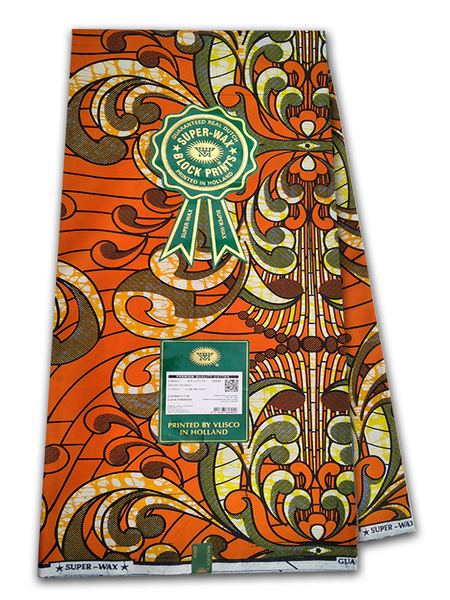 PRODUCT DESCRIPTION: Vlisco Super Wax Premium is made of 100% luxurious cotton fabric and has a super fine feel that distinguishes it from wax block prints. Comprising a two-toned colour combined with a bubbling effect, a third colour might be added to the print however, this is created without the bubbling effect. The Super Wax Premium fabrics are designed using the highest quality digital of printing, which is embedded inside the cotton cloth. It is this unique digital printing designs that give the Vlisco Super-Wax Premium fabric it's distinctive style. Vlisco ensures the vibrant colour combinations of every Super-Wax Premium print exhibits a stunning finish that highlights the beautiful African pride and culture. The Super-wax Embellishment fabric is available in 6 yards (unless stated). To ensure the authenticity of the Vlisco Print, the Vlisco VVH logo and the words SUPER-WAX are repeated twice per yard.   Vlisco Super Wax Premium Fabric Dutch Wax Print Made with soft super fine cotton Produced in Holland since 1846 Eye catching colours Unique patterns Worldwide Shipping PRODUCT SPECIFICATIONS: Limited Edition Exclusive Design Colour: Orange and Yellow  Size: 45inches × 6yards Premium Quality 100% Luxurious Cotton