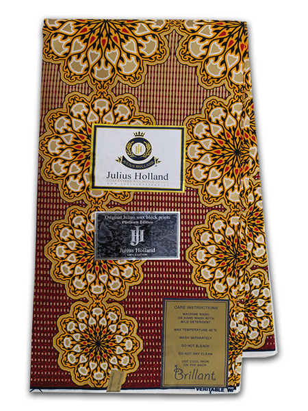 PRODUCT DESCRIPTION: Established in 2002, Julius Holland is a luxury African wax print brand, made for modern women and men from all over the world – focused on those who are curious, sophisticated and fashion-oriented, but also with a strong sense of identity, personal vision and respect for traditions. Julius Holland is made for everyone and every day, it is unique in its own right by using  personal sense and well established experience to create beautiful prints.   Julius Holland is designed for  clients around the world. It is unique in its own right by using our personal sense and well established experience to create beautiful prints. Julius Holland is made for everyone and every day: we love to see women and men dress themselves in our beautiful fabrics and mixing various designs in endlessly new and highly individual creations.  Julius Holland Fabric Dutch Wax Print Highly Fashionable West African Fabric Print Eye catching colours Unique patterns Worldwide Shipping PRODUCT SPECIFICATIONS: Limited Edition Exclusive Design  Colour: Red and Yellow  Super-Soft Cotton Size: 45inches × 6yards