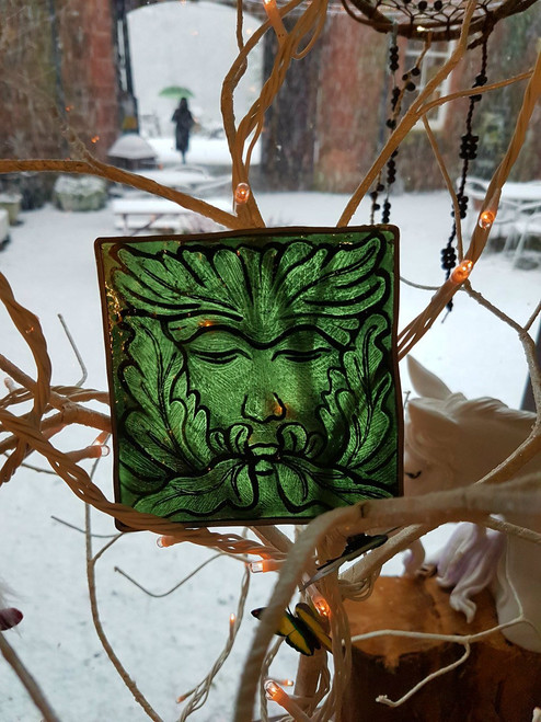 Green Man Traditional Stained Glass Tile