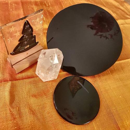 Black Obsidian Scrying Mirror - 15cm