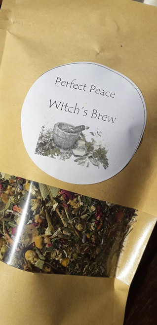 Perfect Peace Loose Leaf Herbal Tea - Embrace a state of peaceful bliss! Use 1-2 teaspoons per mug. Organic, vegan and hand blended with love! Only available at Tir na nOg.  50g bag  Ingredients: Lemon Balm, Chamomile, Lime Blossom, Nattle, Rosemary, Lavender, Rose Petals