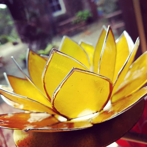 Lotus Candleholder Yellow with Silver Trim