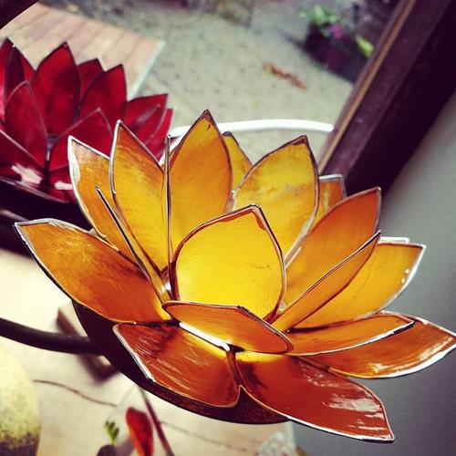 Lotus Candleholder Orange with Silver Trim