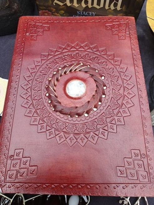 Leather Bound Journal with Moonstone Inset