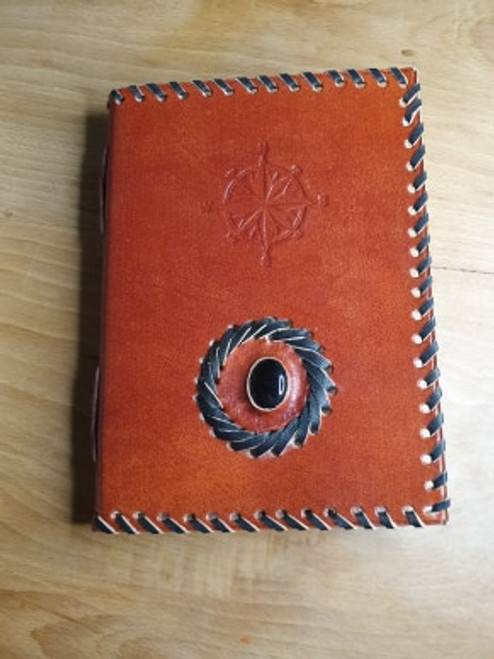 Leather Bound Journal with Compass Design & Onyx Inset