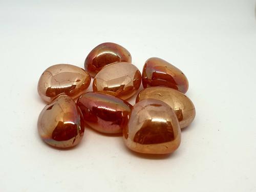 Tangerine Aura Quartz Tumblestone