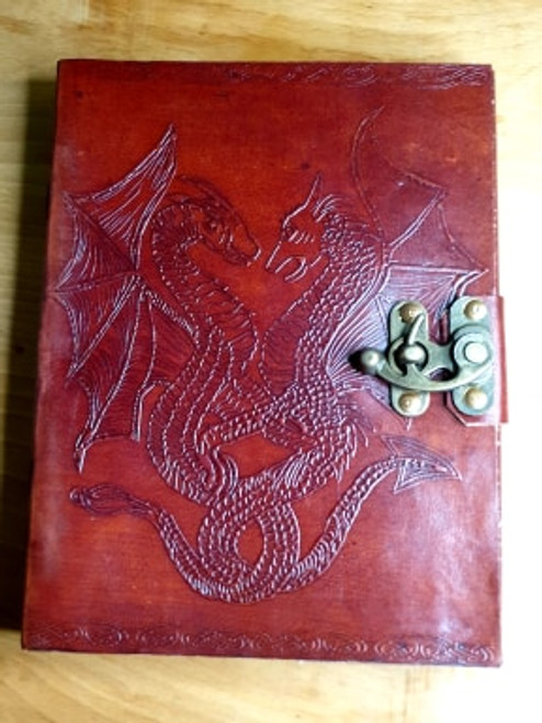 Leather Bound Dragon Journal with Clasp (blank pages)