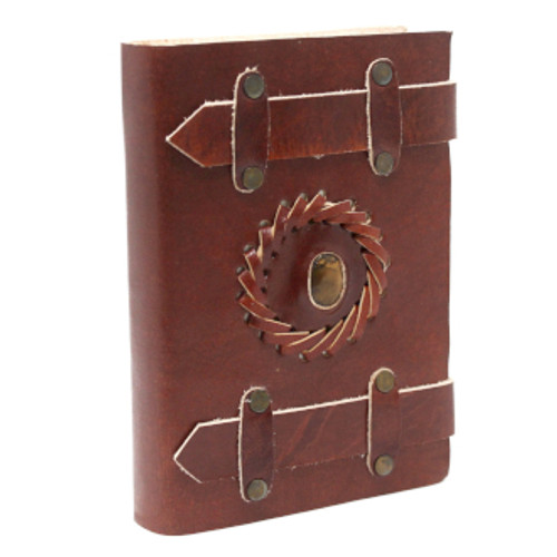 Leather Bound Journal with Belt Closure & Crystal Inset - Tiger's Eye