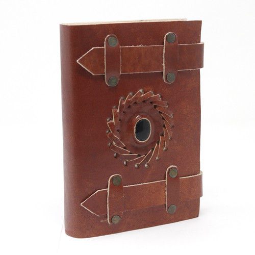 Leather Bound Journal with Belt Closure & Crystal Inset - Black Onyx