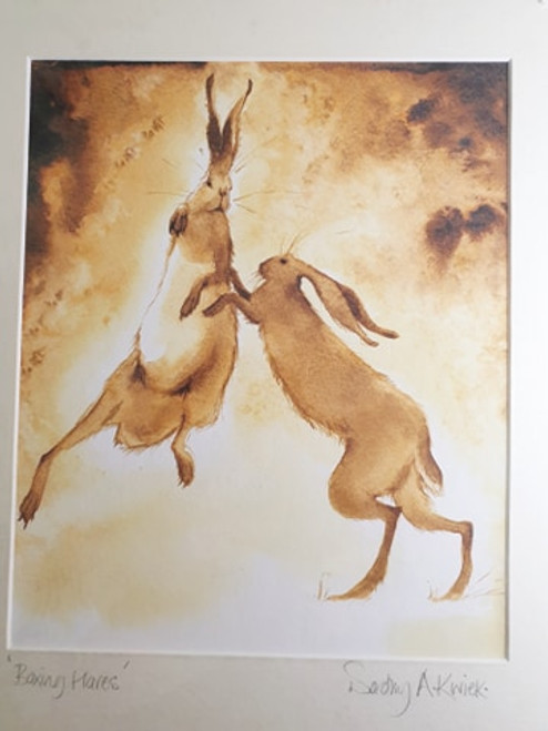 Print - Boxing Hares by Dorothy Kwiek
