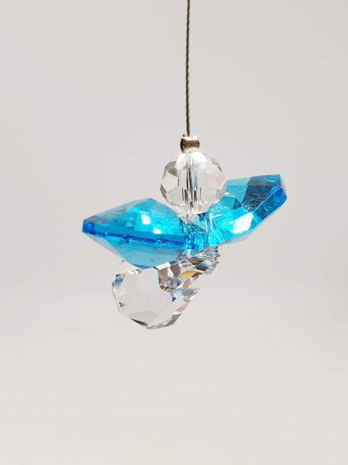Lead Crystal Hanging Angel - Blue