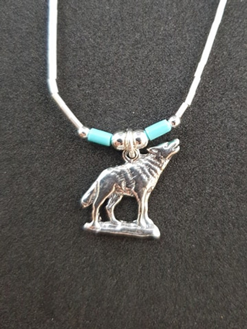 Navajo Silver Wolf Necklace with Turquoise