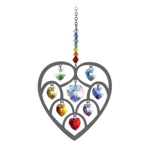 Hanging Heart with Chakra Swarovski Crystals