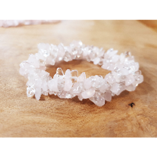 Rose & Clear Quartz Chunky Bracelet