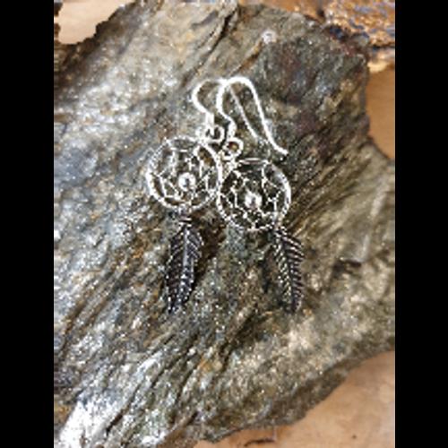 Dreamcatcher Earrings (Silver) 12mm