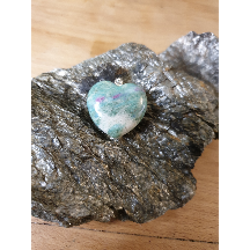 Heart Pendant - Ruby in Fuchsite