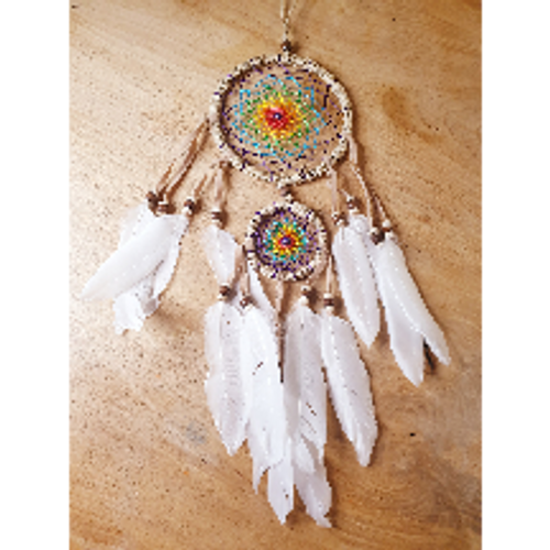 Bright Dreamcatcher with White Feathers