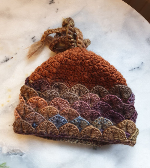 Dragon Beanie - Autumn Tones (by Woollyhatz)