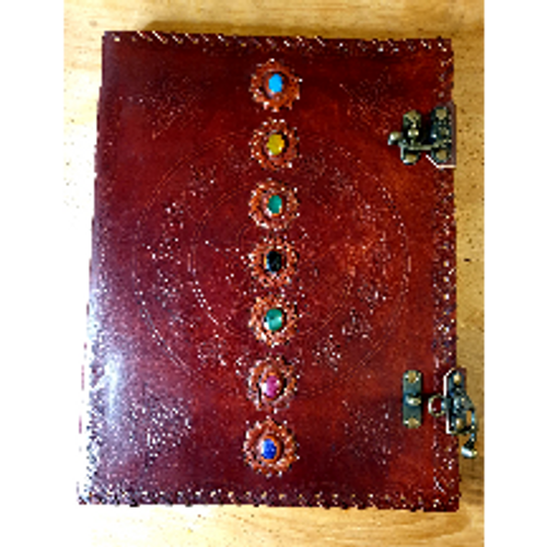 Large Leatherbound Journal with Chakra Stones