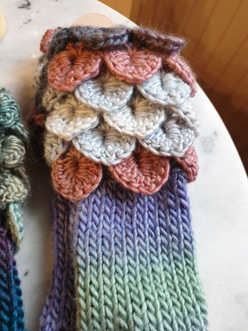 Fingerless Dragon Mitts - Seashore (by Woollyhatz)