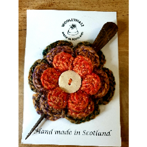Crocheted Hair Pin - Rust