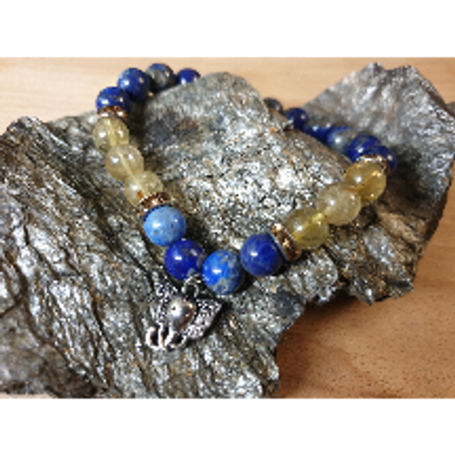 Lapis & Rutilated Quartz Bracelet with Elephant Charm