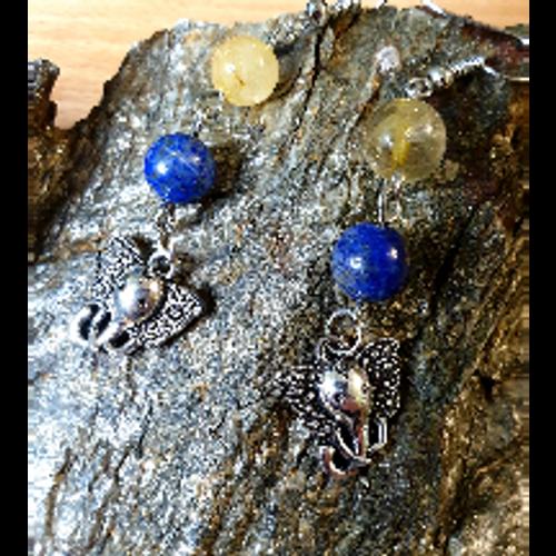 Lapis & Rutilated Quartz Elephant Charm Earrings