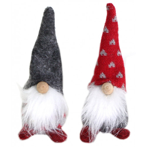 Standing Santa Gnomes (12cm) - Grey/Red Hats