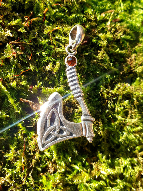 Celtic Axe Pendant with Baltic Amber