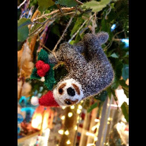 Felt Sloth with Santa Hat